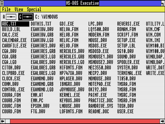 "A list of files in ""MS-DOS Executive"" on Windows 1.01."