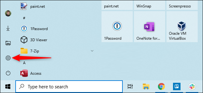 """Open the Start menu and click """"Settings."""""""