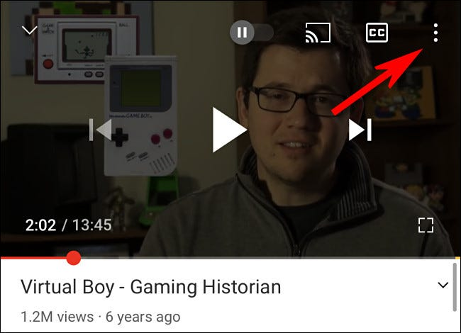 In the YouTube app, tap the three dots button.