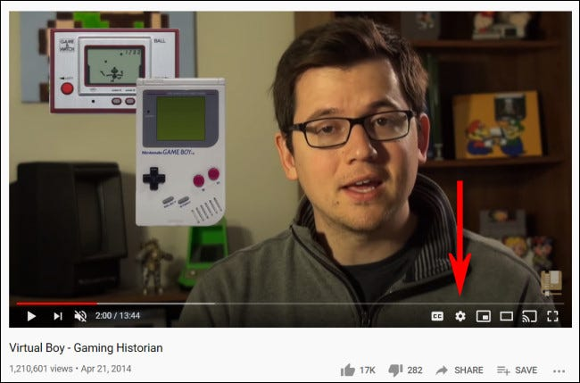 To change YouTube playback speed on the desktop, click the gear icon.