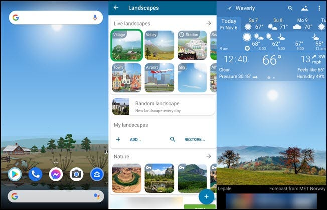 Three landscapes and the local weather on the Yowindow app.