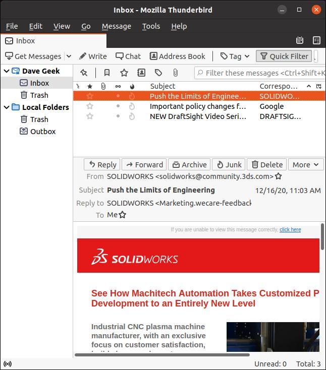 Visualização padrão do cliente de e-mail Thunderbird