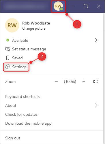 "The ""Settings"" option in the Teams menu."