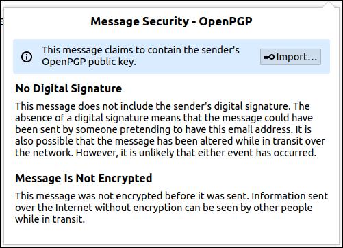 Caixa de diálogo de segurança de mensagem OpenPGP