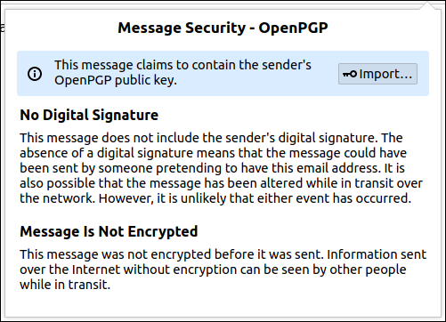 OpenPGP message security dialog box