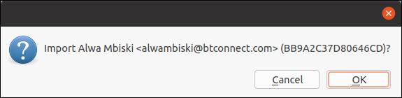Key import confirmation dialog