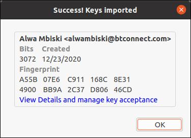 Caixa de diálogo de detalhes da chave importada