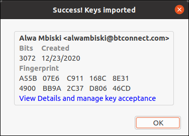 Imported key details dialog box