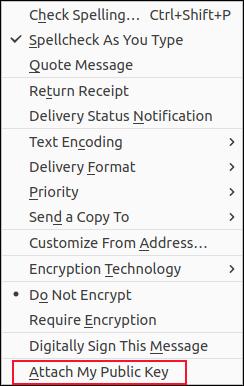 Menu suspenso de opções de e-mail