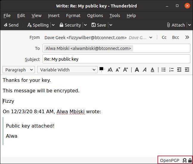 Email com indicador OpenPGP na barra de status