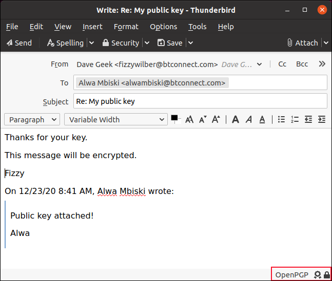 Email with OpenPGP indicator in the status bar