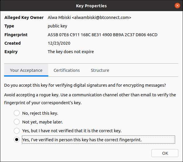 key proprties dialog box