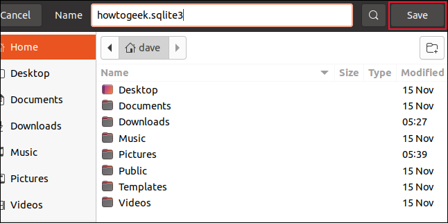 Save dialog with filename howtogeek.sqlite3 entered