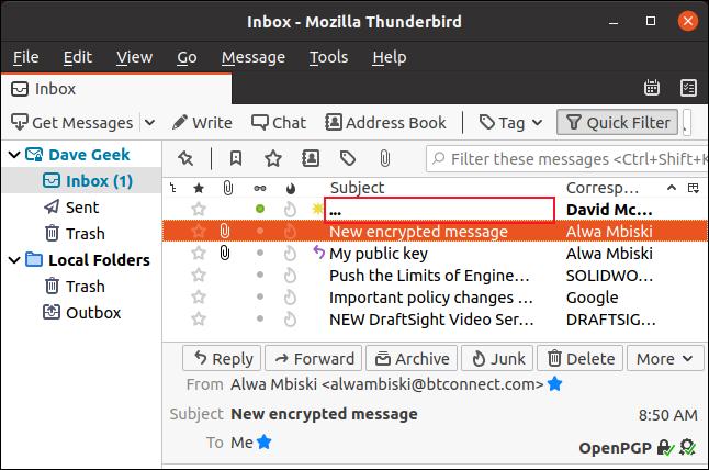 Cabeçalho de e-mail criptografado substituído por três pontos
