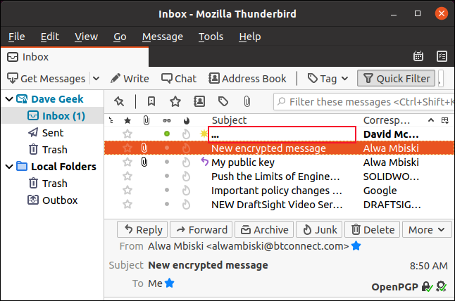 Encrypted email header replaced by three dots