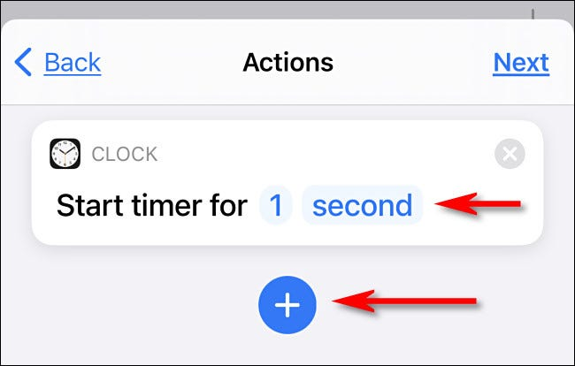 "Set the timer to ""1 second"" then tap the plus button."