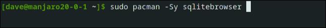 sudo pacman -Sy sqlitebrowser in a terminal window