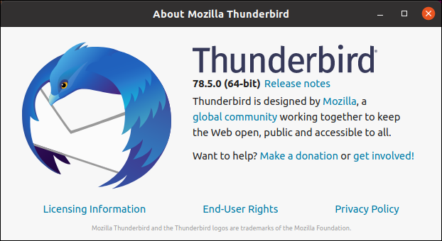 Thunderbird's help about dialog box