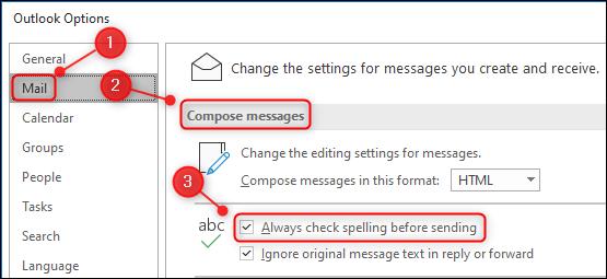 "The ""Always check spelling before sending"" option."