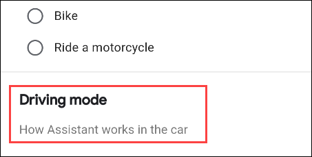 select driving mode