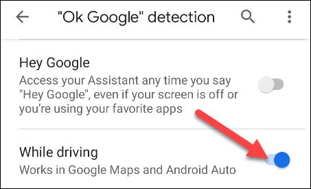 consentire il rilevamento di ok google durante la guida