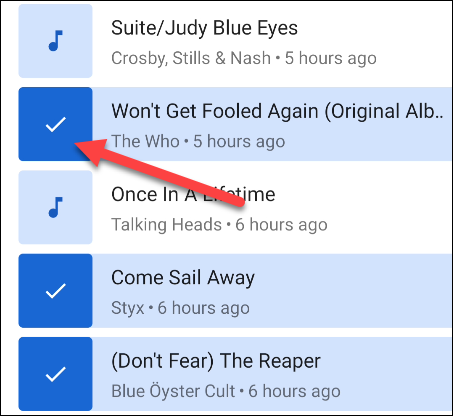 select the songs to add