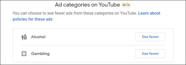 impostazioni di personalizzazione degli annunci di YouTube