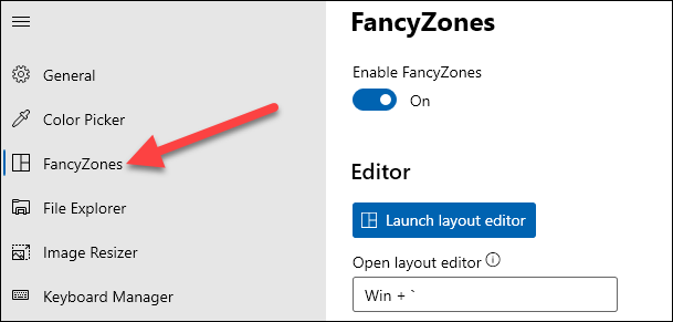 select the fancyzones tab