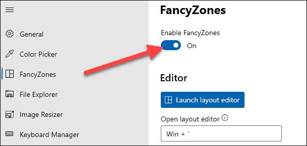 turn on fancy zones