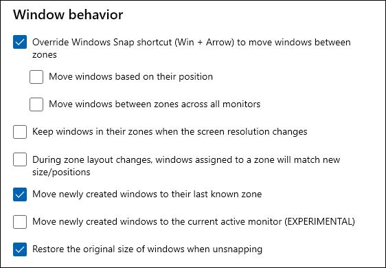 window behavior options