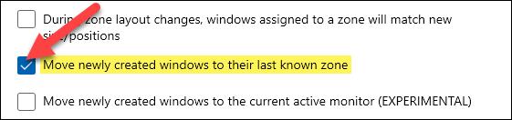 open windows in last known zone