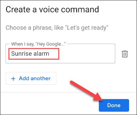 """entrez une phrase de commande et appuyez sur """"Terminé"""""""