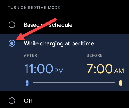 while charging at bedtime