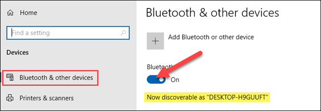 Open the Bluetooth menu on your Windows computer and enable the setting