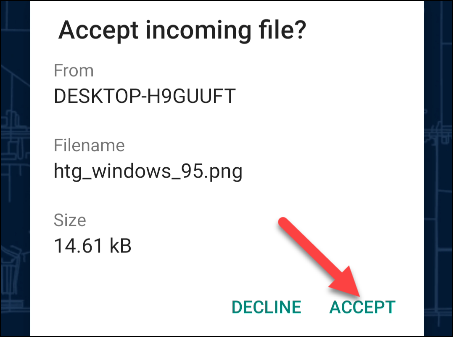 """Tap the """"Accept"""" button on Android to accept the file transfer"""