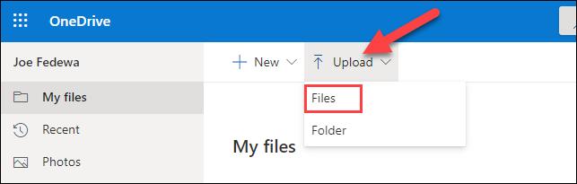 Click Upload > Files