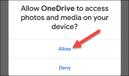 Allow OneDrive permission to access your device's storage