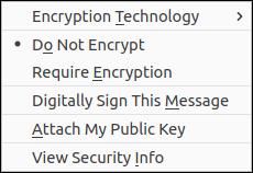 Security drop-down menu