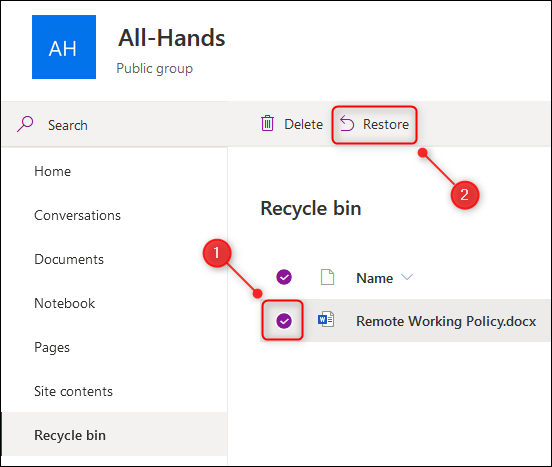 "The ""Restore"" option in the recycle bin."
