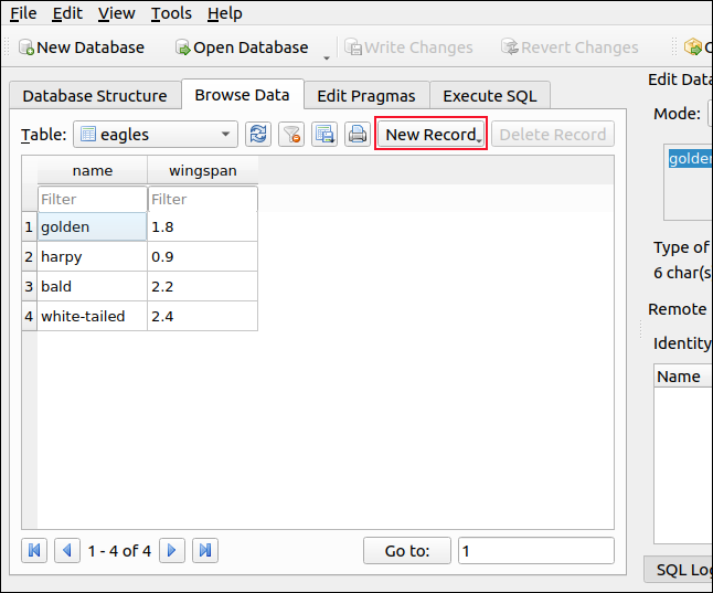 Browse Data tab with new records listed DB Browser for SQLite
