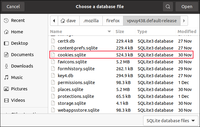 File open dialog with the coockies.sqlite file highlighted