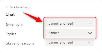 The Chat notification options.
