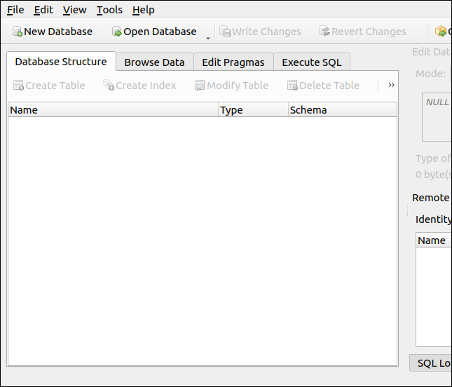 DB Browser for SQLite at first launch