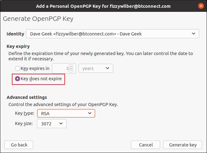 A caixa de diálogo de opções para Gerar Chave OpenPGP