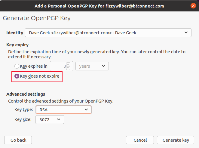 The Generate OpenPGP Key options dialog box