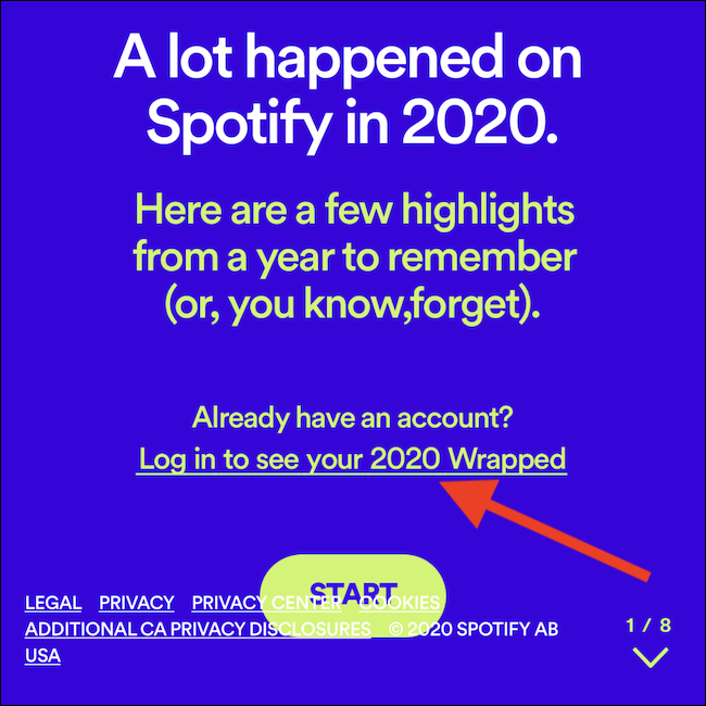 "Tap the ""Log in to see your 2020 Wrapped"" link"