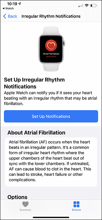 setting up irregular heart rate notifications