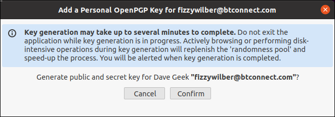 Caixa de diálogo de confirmação de geração de chave