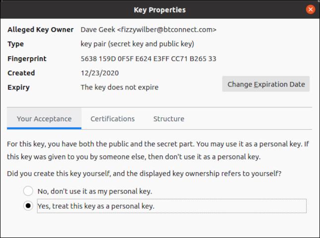Key Properties dialog box