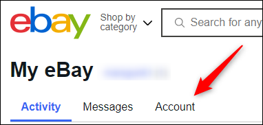 Account tab in my ebay portal